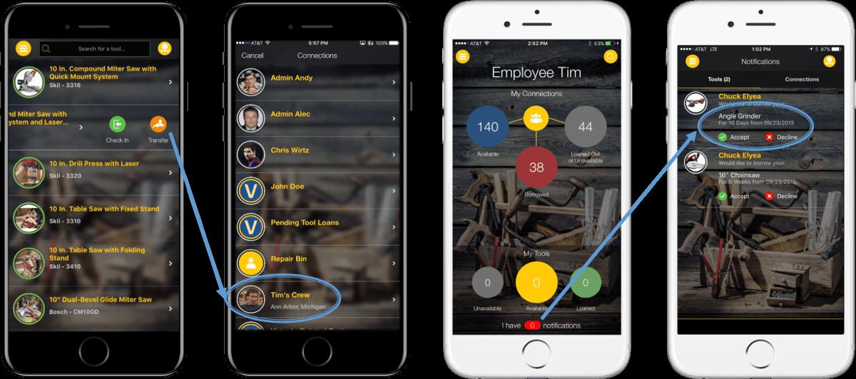 Tool Inventory App, 4 Phones